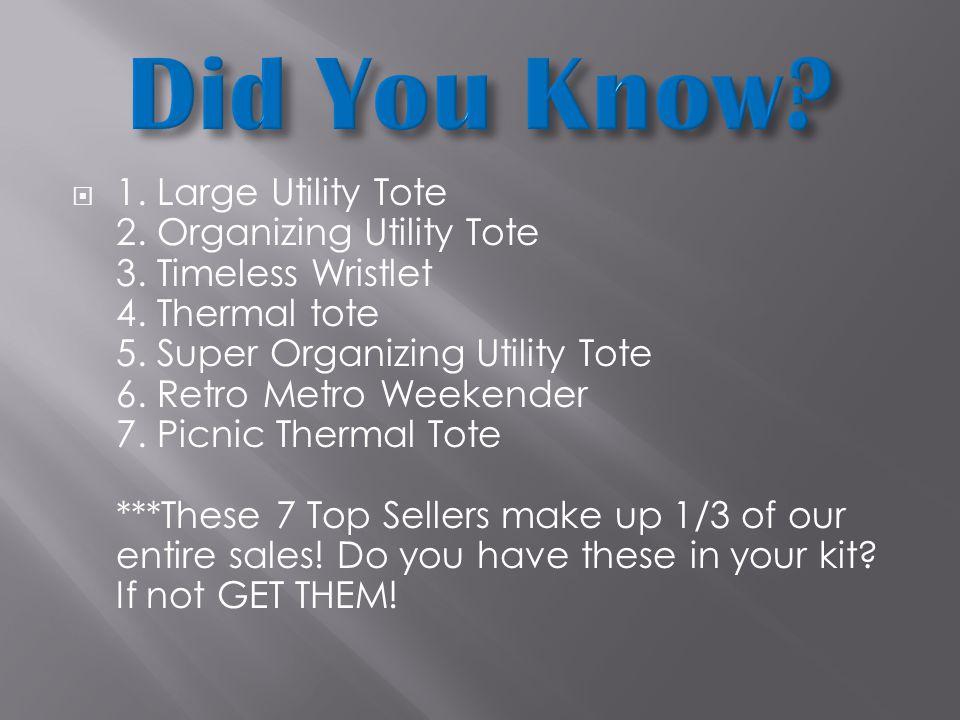  1. Large Utility Tote 2. Organizing Utility Tote 3.