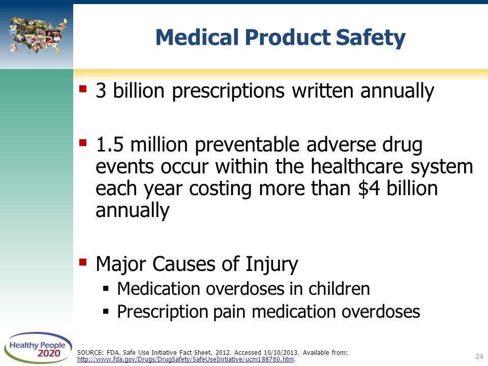  3 billion prescriptions written annually  1.5 million preventable adverse drug events occur within the healthcare system each year costing more than $4 billion annually  Major Causes of Injury  Medication overdoses in children  Prescription pain medication overdoses Medical Product Safety SOURCE: FDA.