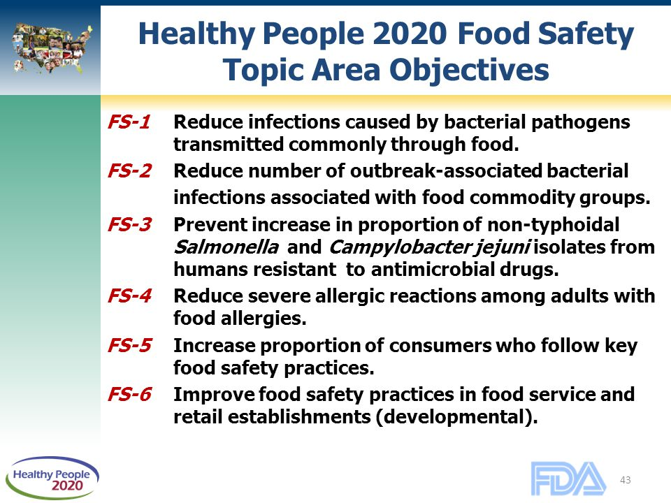 43 Healthy People 2020 Food Safety Topic Area Objectives FS-1 Reduce infections caused by bacterial pathogens transmitted commonly through food.