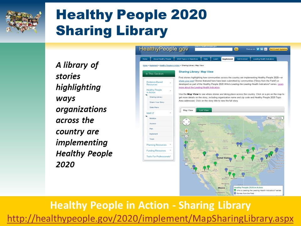 Healthy People 2020 Sharing Library A library of stories highlighting ways organizations across the country are implementing Healthy People 2020 Healthy People in Action - Sharing Library http://healthypeople.gov/2020/implement/MapSharingLibrary.aspx http://healthypeople.gov/2020/implement/MapSharingLibrary.aspx