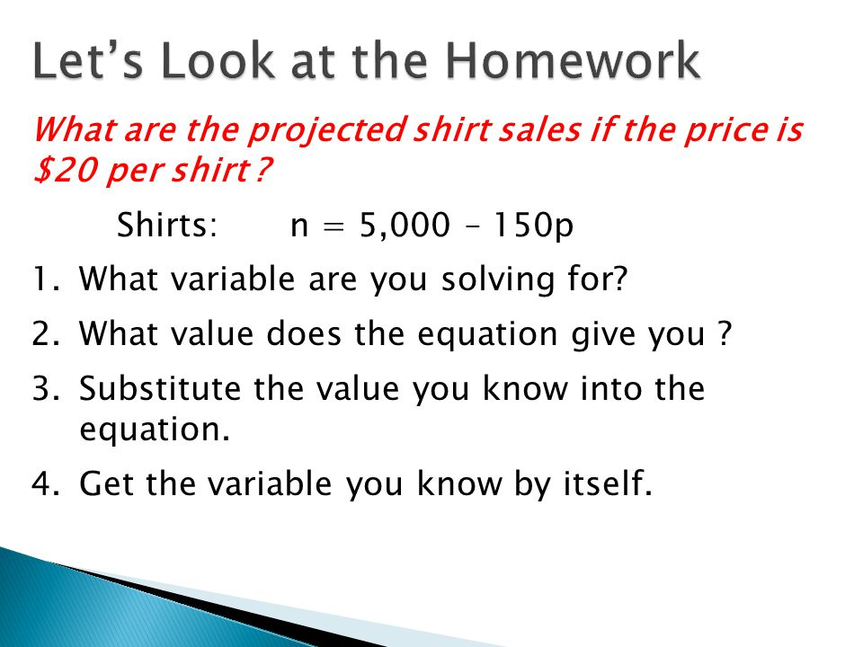 What are the projected shirt sales if the price is $20 per shirt .