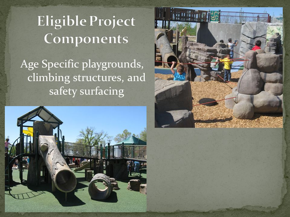 Age Specific playgrounds, climbing structures, and safety surfacing
