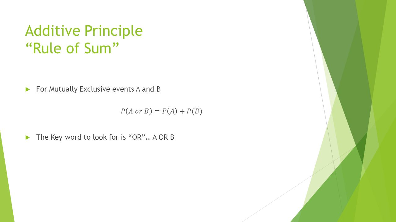 "Additive Principle ""Rule of Sum"""