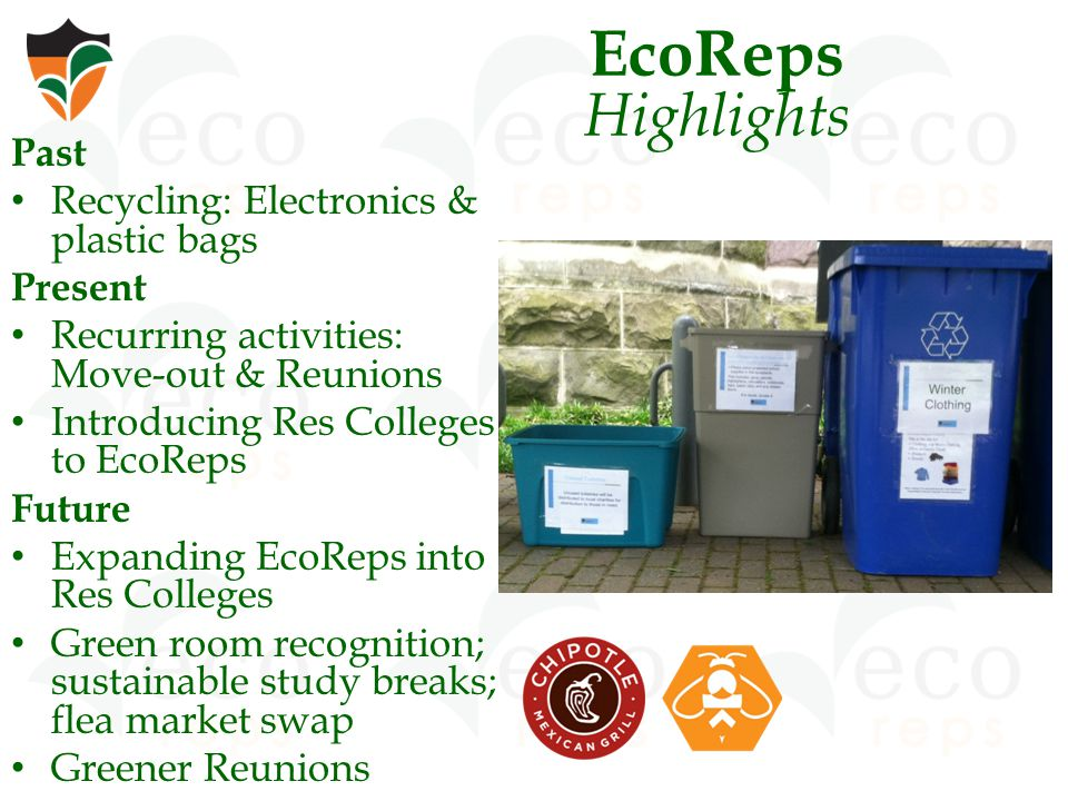 EcoReps Highlights Past Recycling: Electronics & plastic bags Present Recurring activities: Move-out & Reunions Introducing Res Colleges to EcoReps Future Expanding EcoReps into Res Colleges Green room recognition; sustainable study breaks; flea market swap Greener Reunions