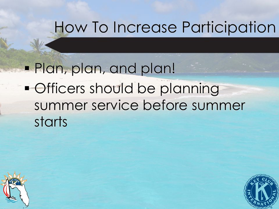 How To Increase Participation  Plan, plan, and plan.