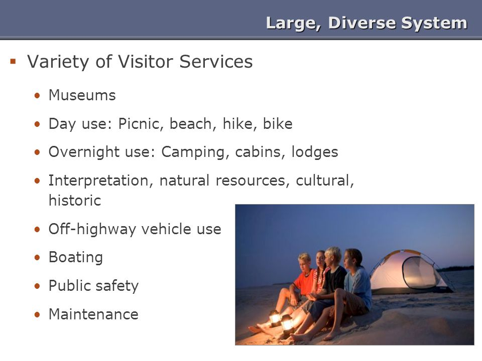 Large, Diverse System  Variety of Visitor Services Museums Day use: Picnic, beach, hike, bike Overnight use: Camping, cabins, lodges Interpretation,