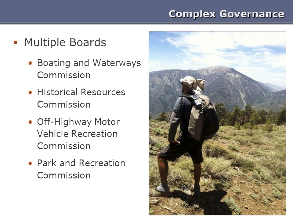 Complex Governance  Multiple Boards Boating and Waterways Commission Historical Resources Commission Off-Highway Motor Vehicle Recreation Commission
