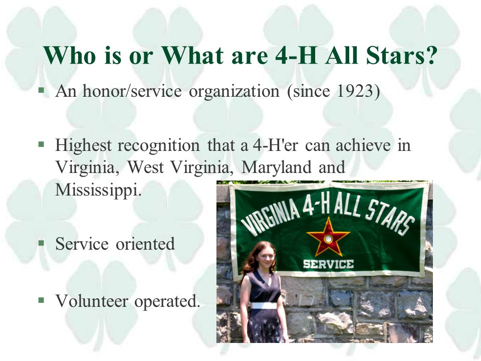 Virginia Chapter of 4-H All Stars Short and Sweet Orientation for Agents Carol Nansel, Shenandoah Co.