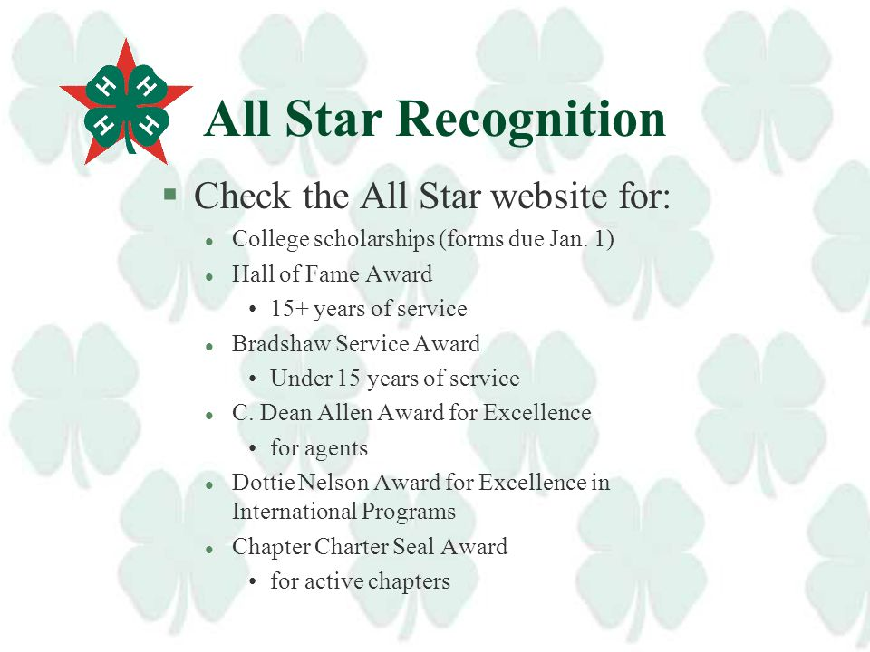 How do I find the All Stars in my unit? §William Thomas, All Star and former Culpeper 4-H Agent, maintains the current mailing list of Virginia 4-H Al