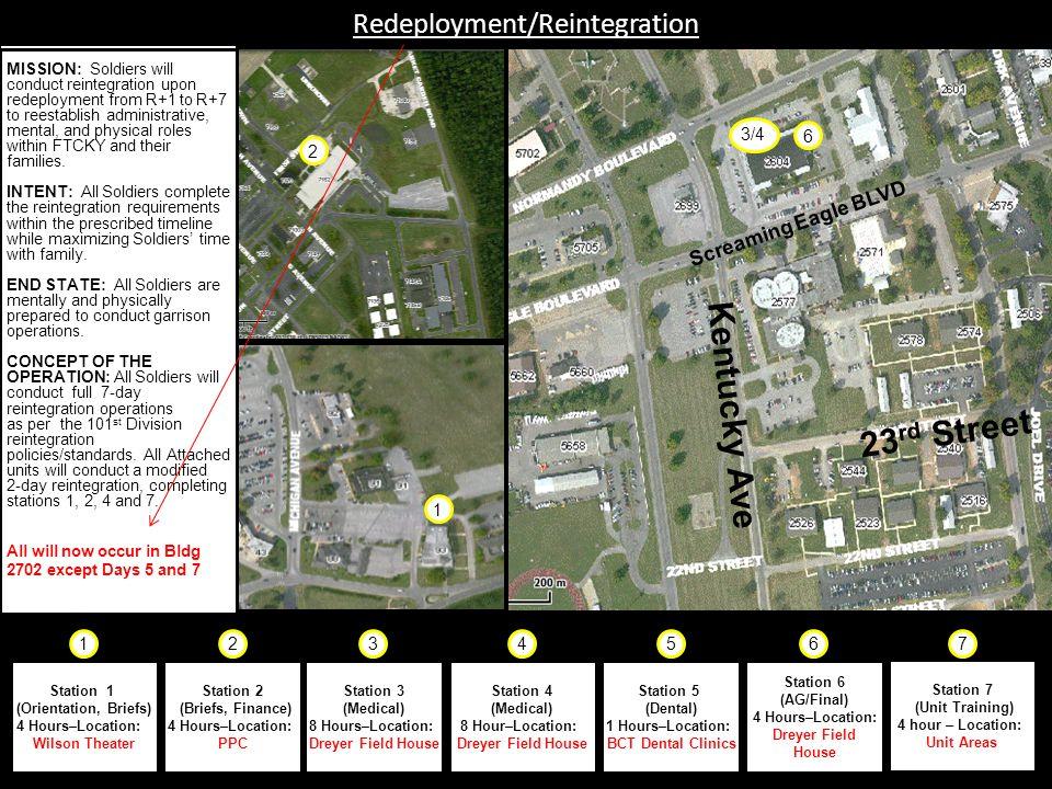 Fort Campbell, Kentucky Redeployment/Reintegration Station 1 (Orientation, Briefs) 4 Hours–Location: Wilson Theater Station 2 (Briefs, Finance) 4 Hour