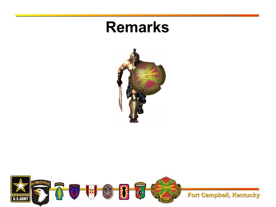 Fort Campbell, Kentucky Remarks