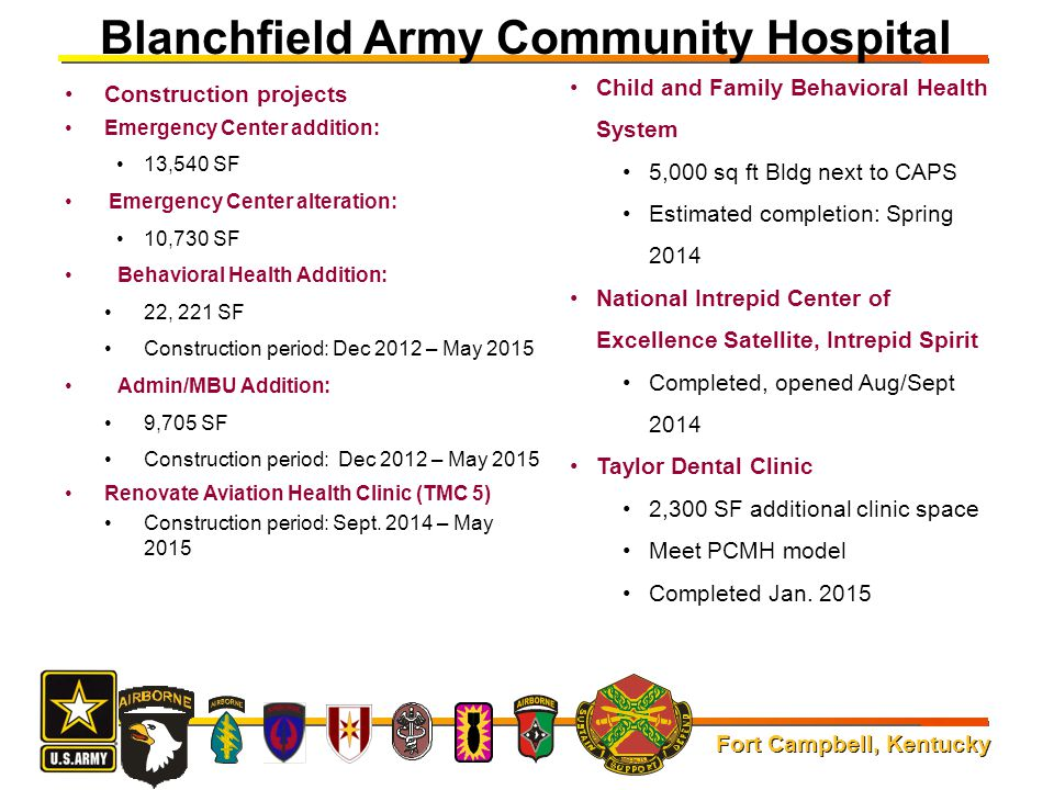Fort Campbell, Kentucky Blanchfield Army Community Hospital Construction projects Emergency Center addition: 13,540 SF Emergency Center alteration: 10