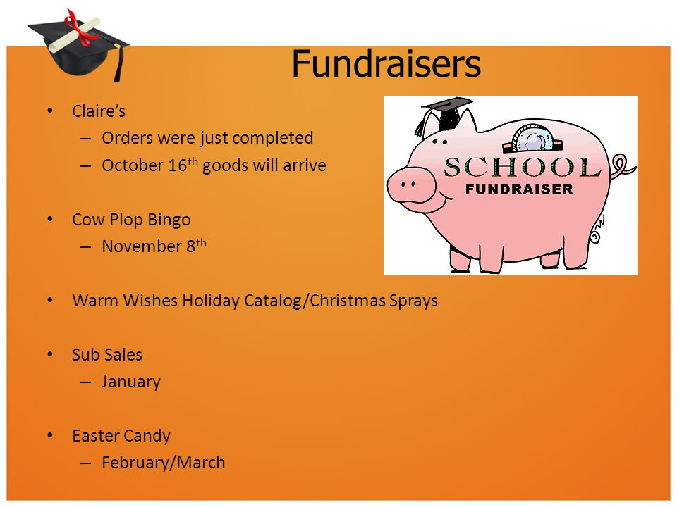 Fundraisers Claire's – Orders were just completed – October 16 th goods will arrive Cow Plop Bingo – November 8 th Warm Wishes Holiday Catalog/Christm