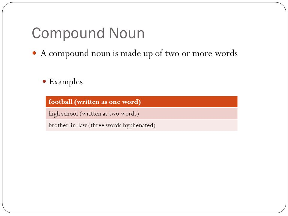 Compound Noun A compound noun is made up of two or more words Examples football (written as one word) high school (written as two words) brother-in-la