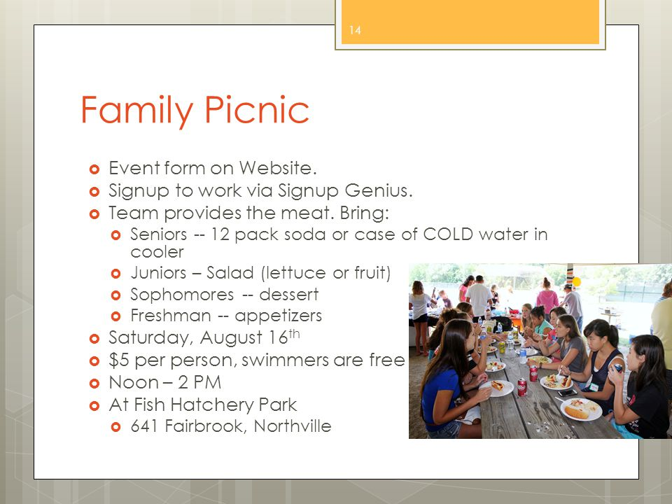 Family Picnic  Event form on Website.  Signup to work via Signup Genius.