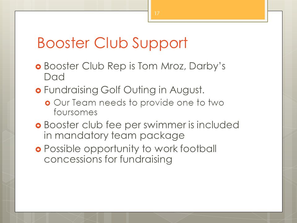 Booster Club Support  Booster Club Rep is Tom Mroz, Darby's Dad  Fundraising Golf Outing in August.