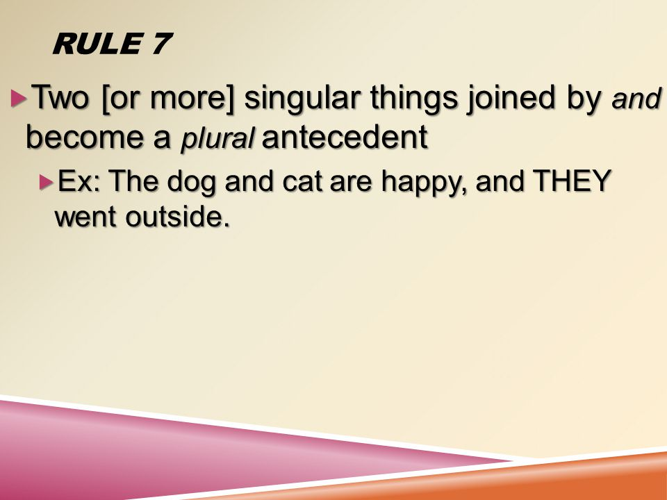 RULE 6  When each or every precedes two [or more] singular things joined by and, a singular antecedent is formed Each dog and cat sings well.