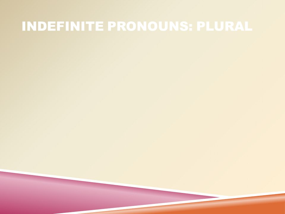INDEFINITE PRONOUNS: BOTH  : Some indefinite pronouns are singular or plural, depending on context
