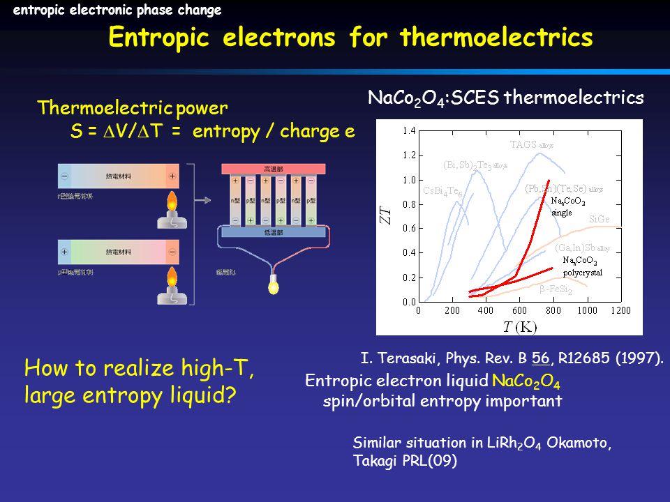 Thermoelectric power S =  V/  T = entropy / charge e Entropic electron liquid NaCo 2 O 4 spin/orbital entropy important I. Terasaki, Phys. Rev. B 56