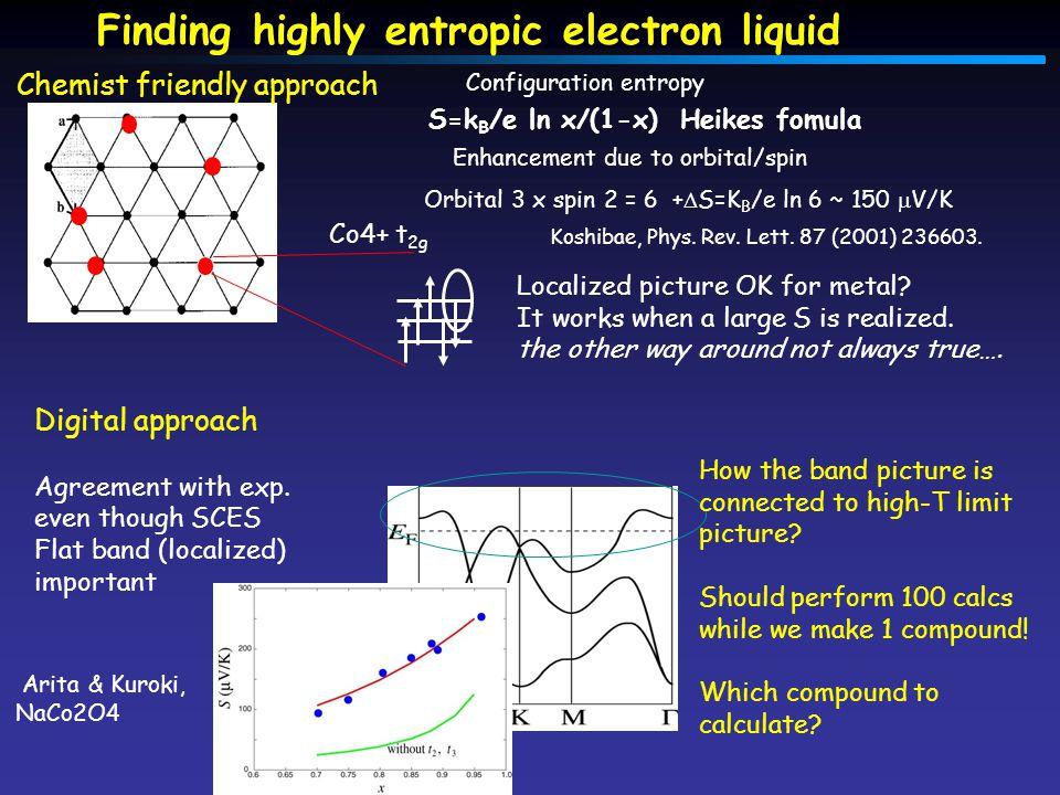 Finding highly entropic electron liquid S=k B /e ln x/(1-x) Heikes fomula Configuration entropy Koshibae, Phys.