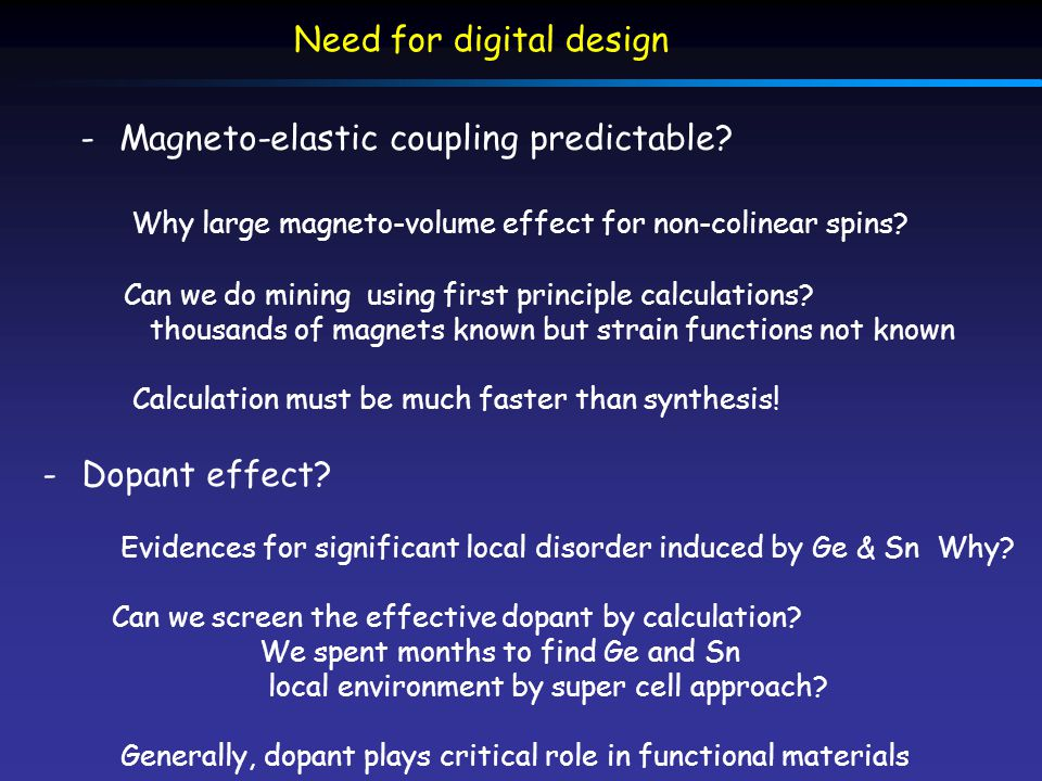 Need for digital design -Dopant effect? Evidences for significant local disorder induced by Ge & Sn Why? Can we screen the effective dopant by calcula