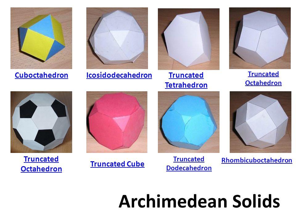 CuboctahedronIcosidodecahedron Truncated Tetrahedron Truncated Octahedron Truncated Cube Archimedean Solids Truncated Dodecahedron Rhombicuboctahedron Truncated Octahedron