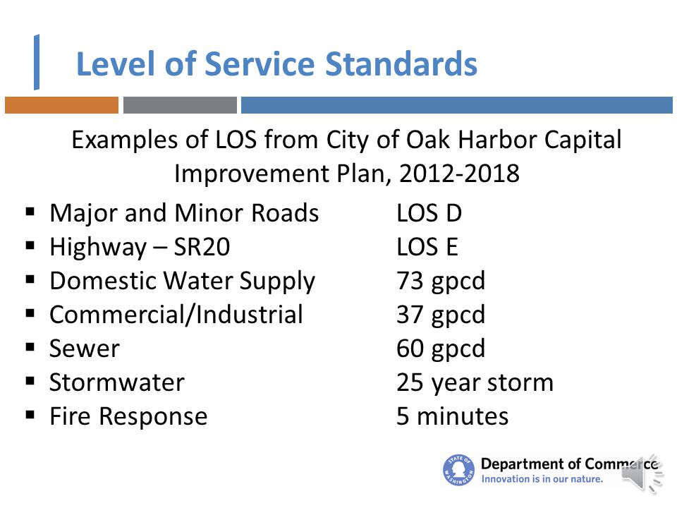 Level of Service Standards LOS refers to minimum capacity for public facilities or service that is planned to be provided per unit of demand or other
