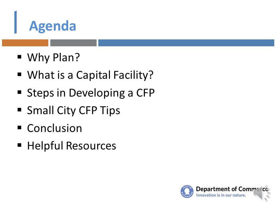 How to Develop a Capital Facilities Plan Managing Your Update Presented by Leonard Bauer, FAICP for Growth Management Services and the Public Works Bo