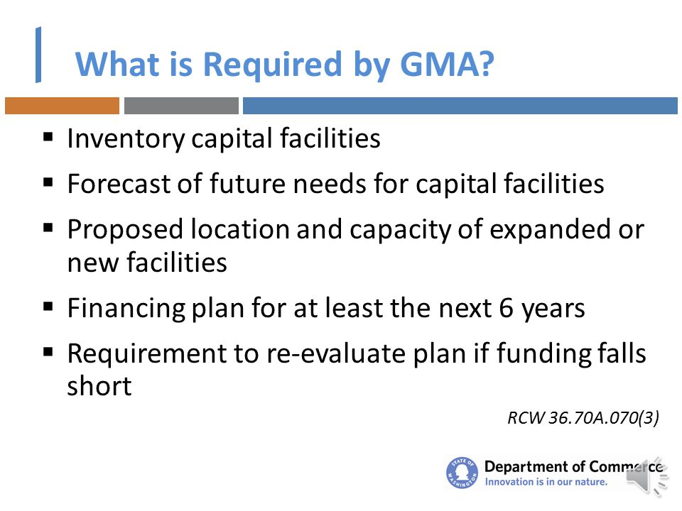 Why Plan?  Growth Management Act (GMA) Requirement  Several funding agencies require it or give points  Guides implementation of the community's vi