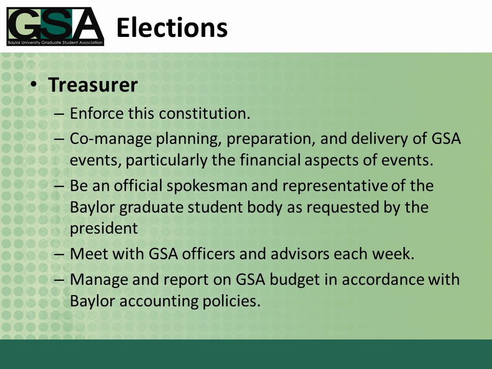 Elections Treasurer – Enforce this constitution.