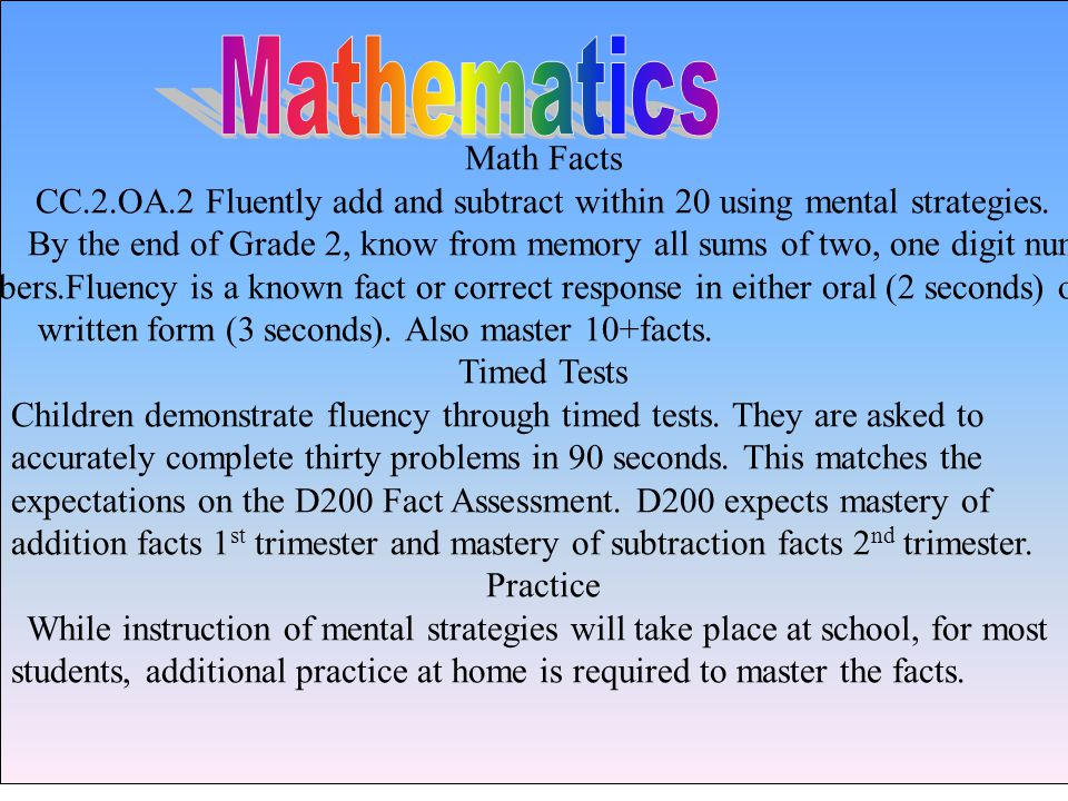 Math Facts CC.2.OA.2 Fluently add and subtract within 20 using mental strategies.