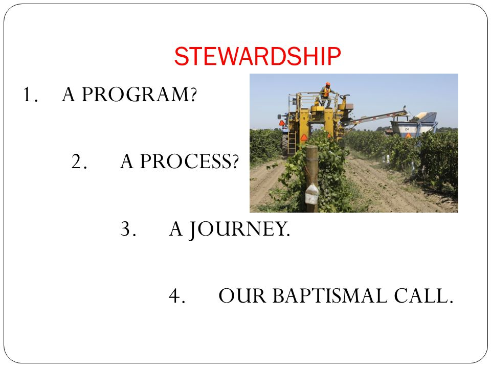 STEWARDSHIP 1.A PROGRAM? 2. A PROCESS? 3. A JOURNEY. 4. OUR BAPTISMAL CALL.