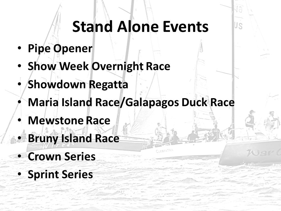 Stand Alone Events Pipe Opener Show Week Overnight Race Showdown Regatta Maria Island Race/Galapagos Duck Race Mewstone Race Bruny Island Race Crown Series Sprint Series