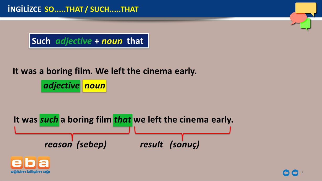 8 Such adjective + noun that reason (sebep) result (sonuç) adjective noun It was a boring film.
