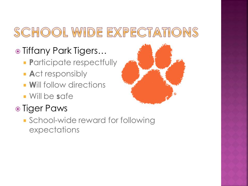  Tiffany Park Tigers…  P articipate respectfully  A ct responsibly  W ill follow directions  Will be s afe  Tiger Paws  School-wide reward for following expectations