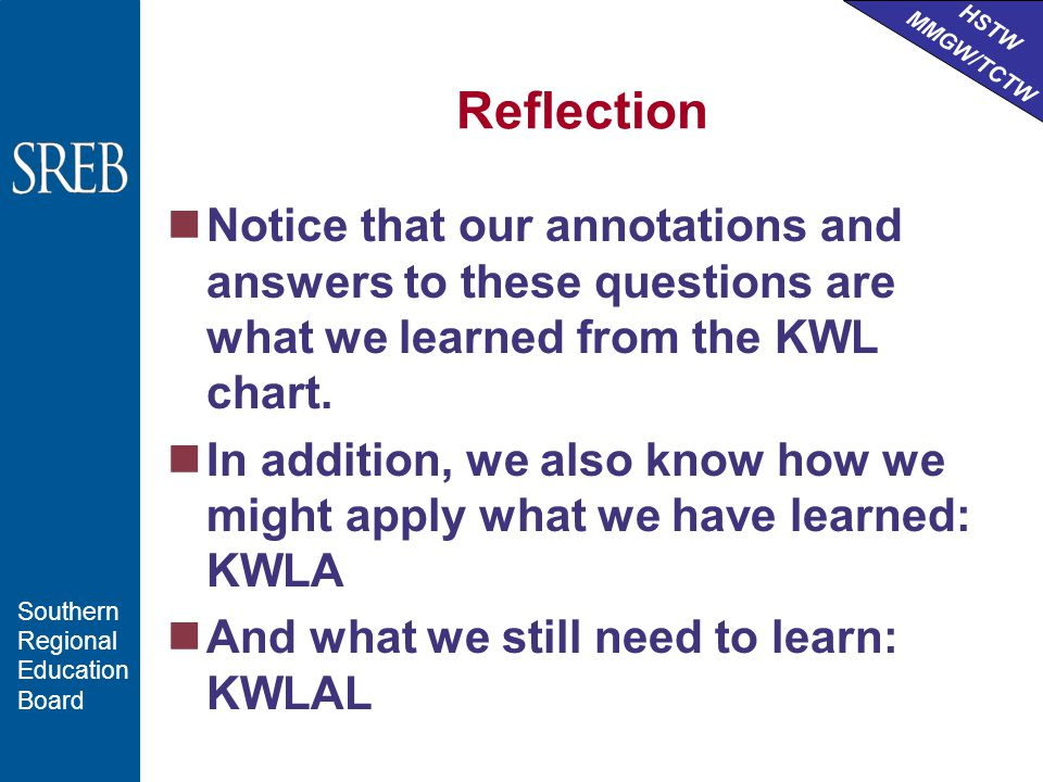HSTW MMGW/TCTW Southern Regional Education Board Reflection Notice that our annotations and answers to these questions are what we learned from the KWL chart.