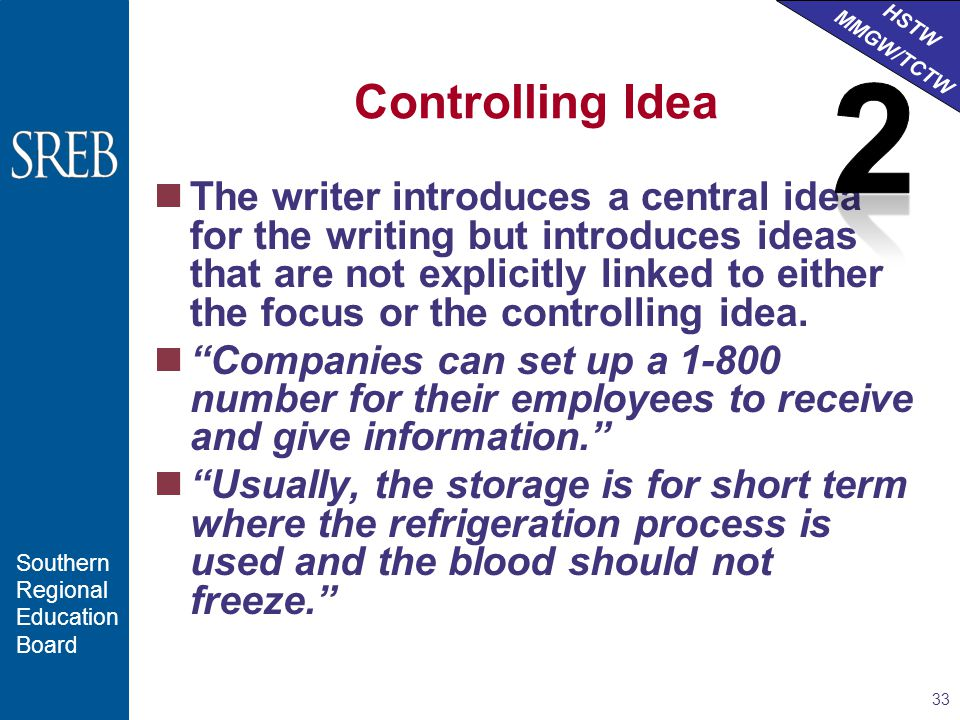 HSTW MMGW/TCTW Southern Regional Education Board Controlling Idea The writer introduces a central idea for the writing but introduces ideas that are not explicitly linked to either the focus or the controlling idea.