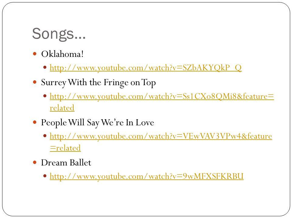 Songs… Oklahoma.