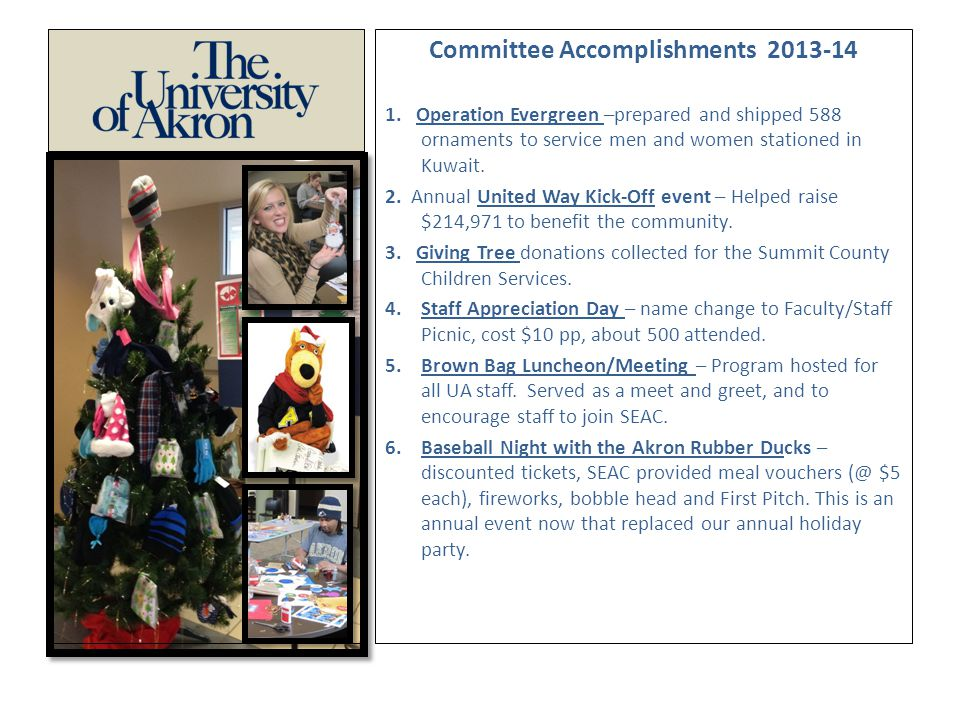 Committee Accomplishments 2013-14 1.