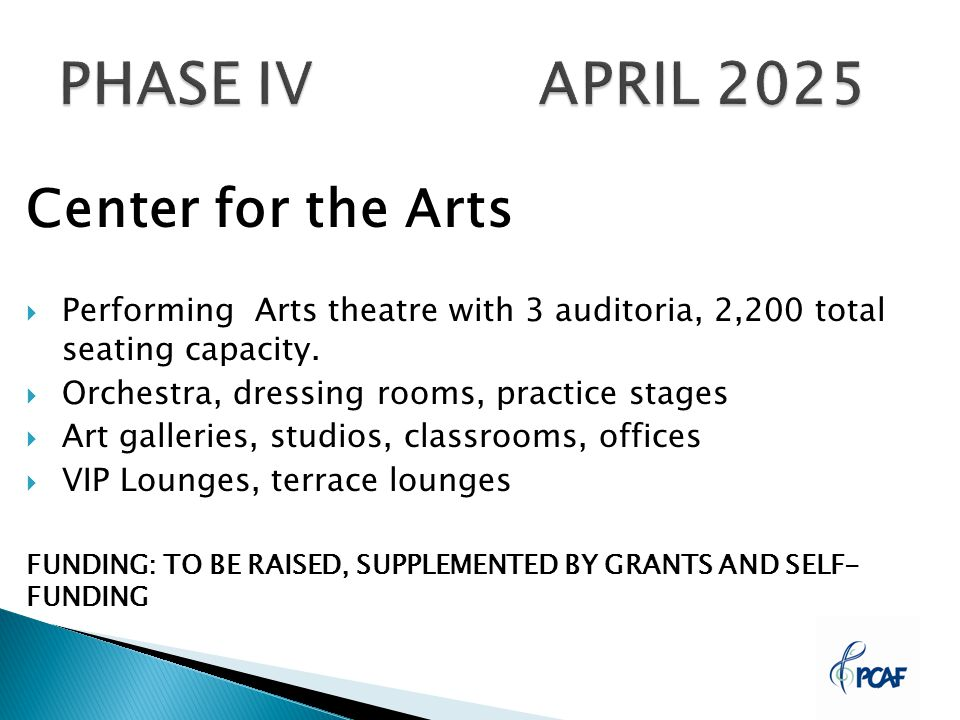 Center for the Arts  Performing Arts theatre with 3 auditoria, 2,200 total seating capacity.