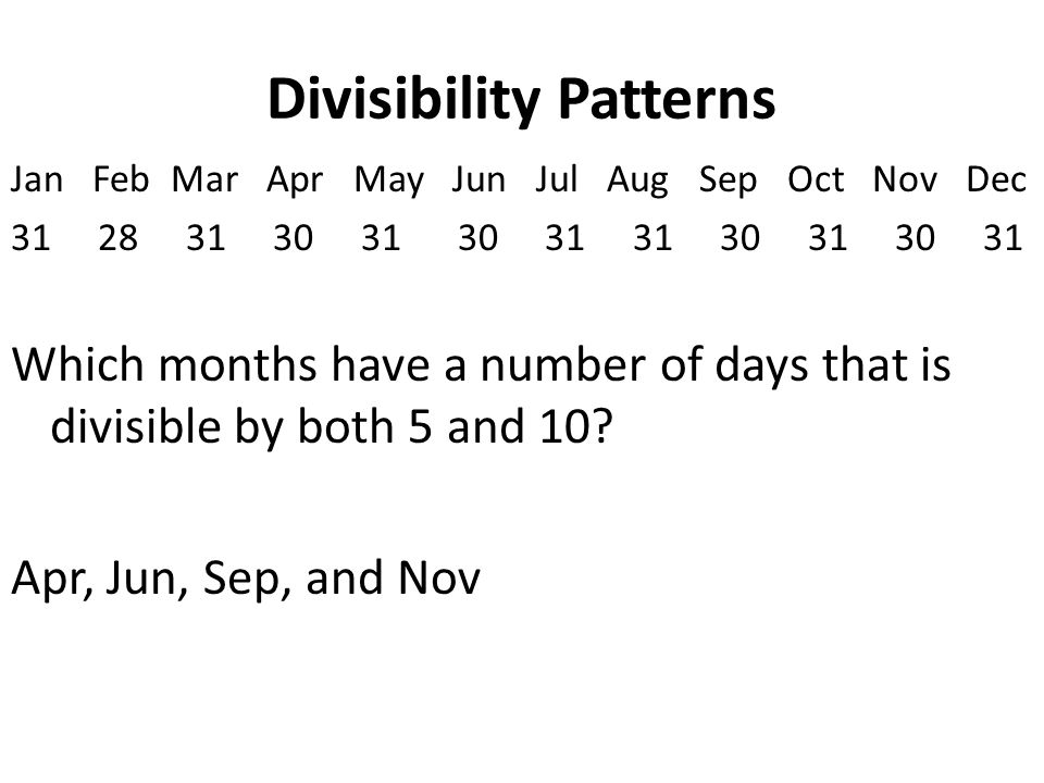 Divisibility Patterns Jan Feb Mar Apr May Jun Jul Aug Sep Oct Nov Dec 31 28 31 30 31 30 31 31 30 31 30 31 Which months have a number of days that is divisible by both 5 and 10.