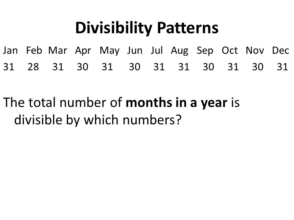 Divisibility Patterns Jan Feb Mar Apr May Jun Jul Aug Sep Oct Nov Dec 31 28 31 30 31 30 31 31 30 31 30 31 The total number of months in a year is divisible by which numbers
