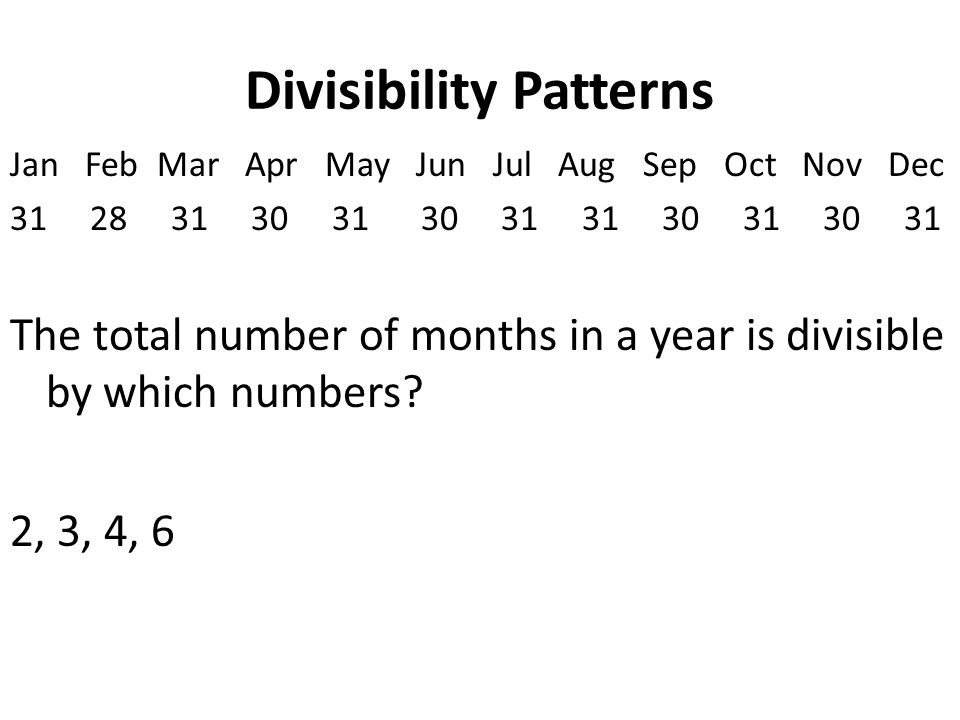 Divisibility Patterns Jan Feb Mar Apr May Jun Jul Aug Sep Oct Nov Dec 31 28 31 30 31 30 31 31 30 31 30 31 The total number of months in a year is divisible by which numbers.