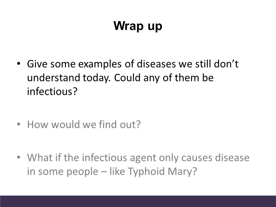 Wrap up Give some examples of diseases we still don't understand today.