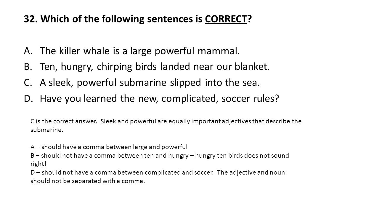 32. Which of the following sentences is CORRECT. A.The killer whale is a large powerful mammal.
