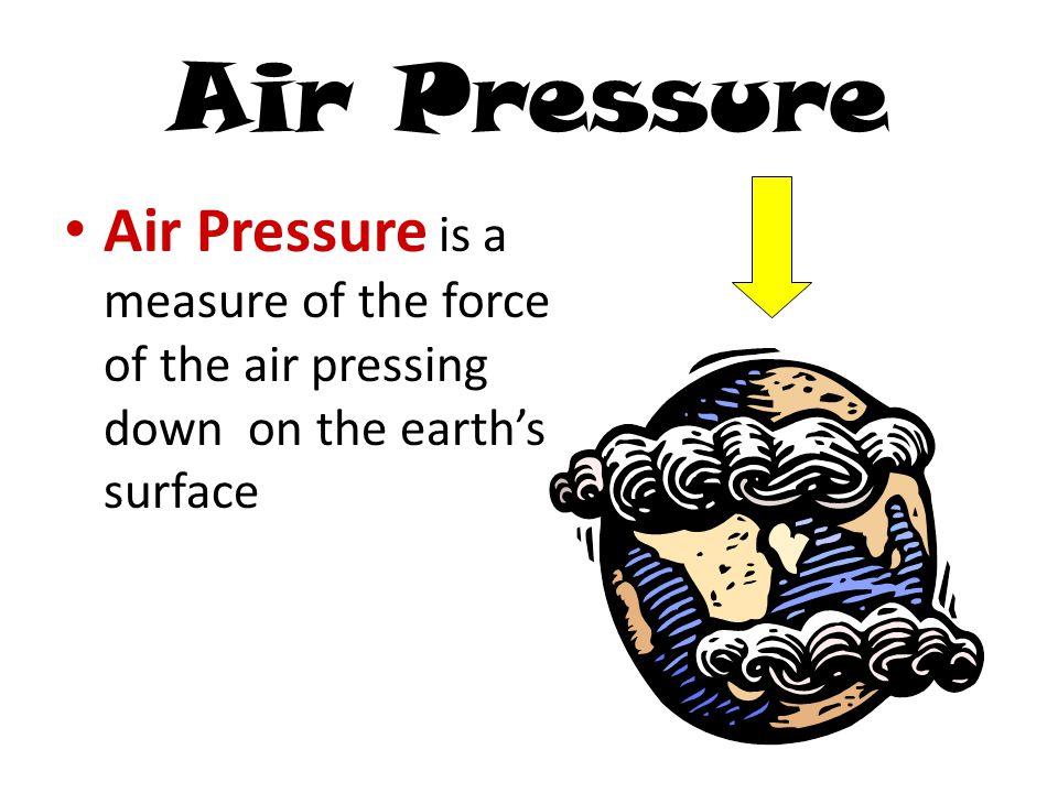 Factors Affecting Air Pressure FACTORIncrease/DecreaseAir Pressure Density Temperature Water Vapor Altitude