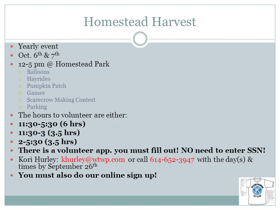 Homestead Harvest Yearly event Oct.