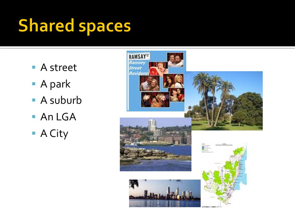  A street  A park  A suburb  An LGA  A City
