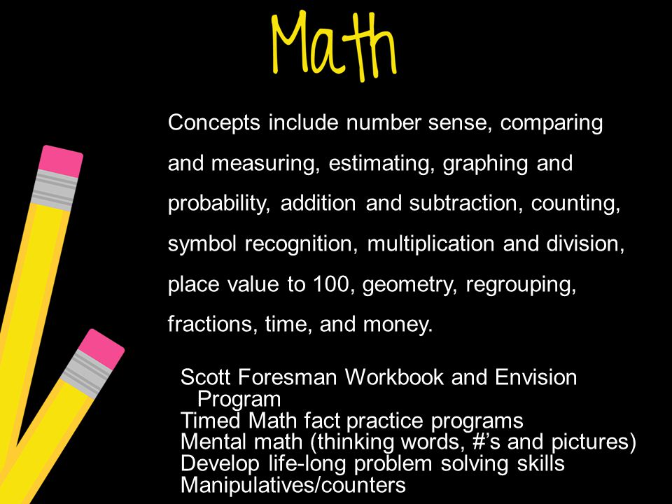 Concepts include number sense, comparing and measuring, estimating, graphing and probability, addition and subtraction, counting, symbol recognition, multiplication and division, place value to 100, geometry, regrouping, fractions, time, and money.