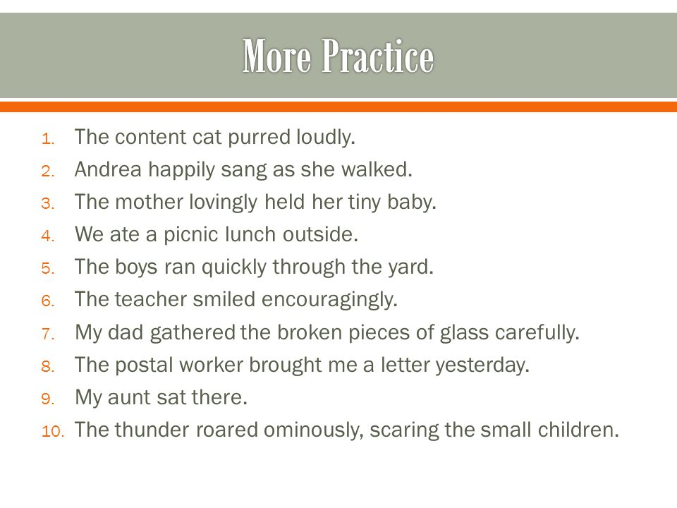 1. The content cat purred loudly. 2. Andrea happily sang as she walked. 3. The mother lovingly held her tiny baby. 4. We ate a picnic lunch outside. 5